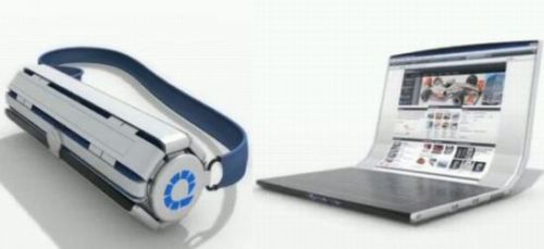 Futuristic Rolltop Multi-touch Laptop