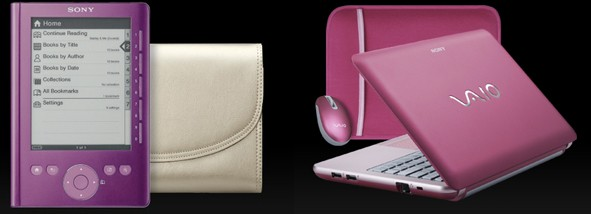 Sony Pink W Series, consisting of a Pink Vaio W and a Rose Pocket Edition ebook reader
