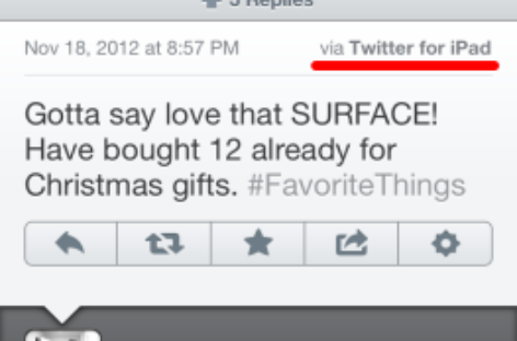 Oprah Tweets About Her Love for Microsoft Surface from an iPad