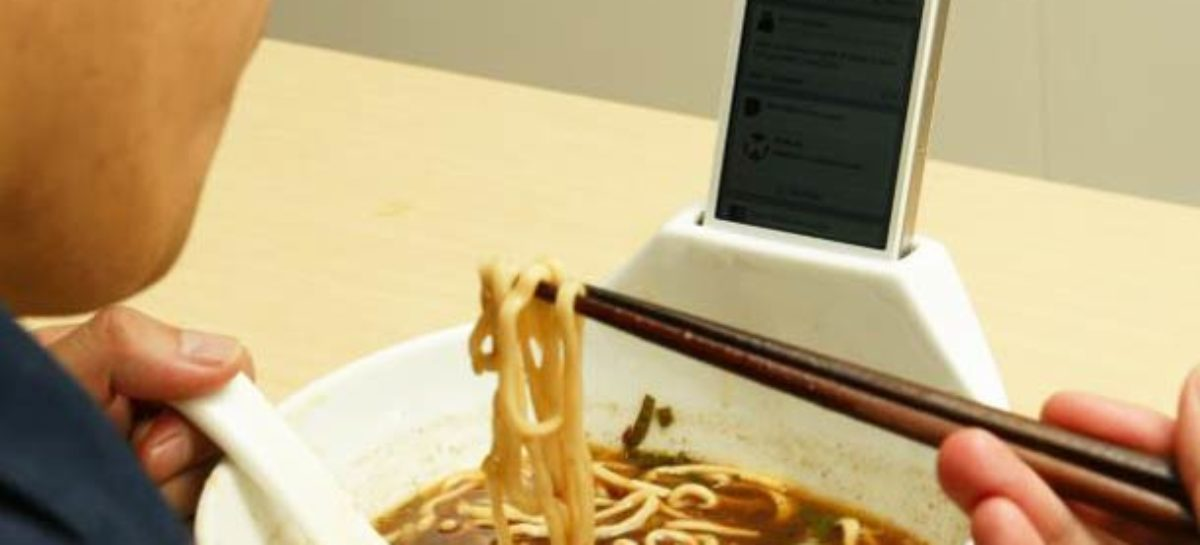 Lonely Eater No More: Ramen Bowl with iPhone Dock