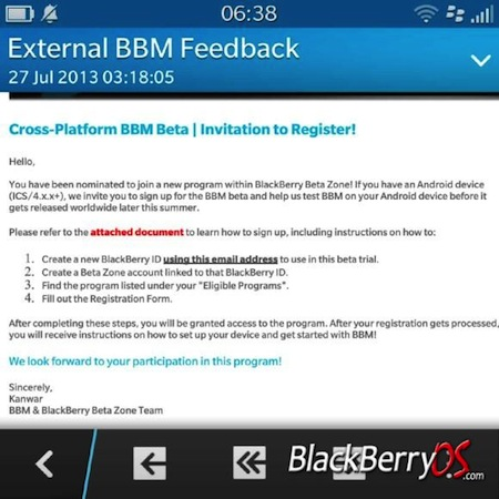 BlackBerry for Android beta version