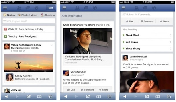 Preview of Facebook trending topics