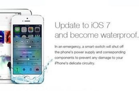 Fake iOS 7 ad claims update makes iPhones waterproof