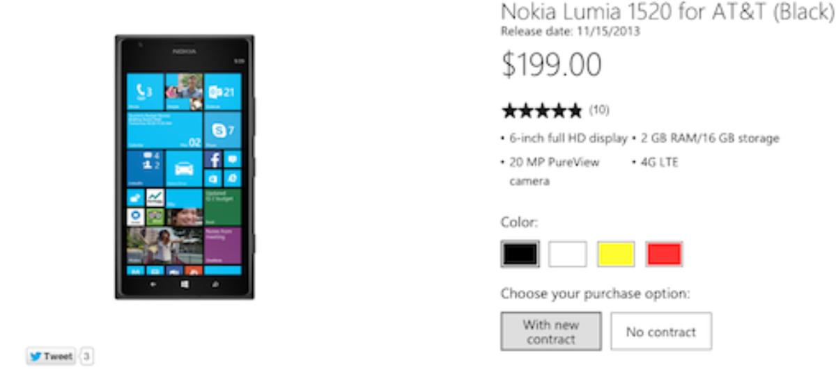 Microsoft takes down Nokia Lumia 1520 pre-order webpage