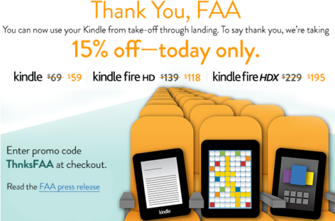 Amazon celebrates FAA decision with Kindle discounts