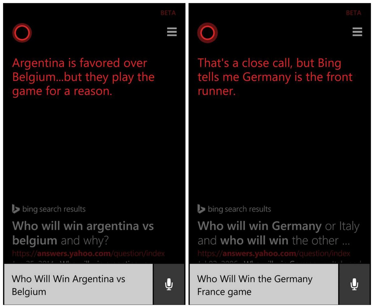 Cortana and its World Cup prediction streak